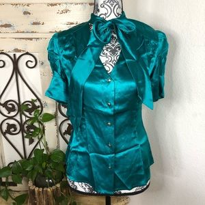 Banana Republic teal silk puff sleeve blouse